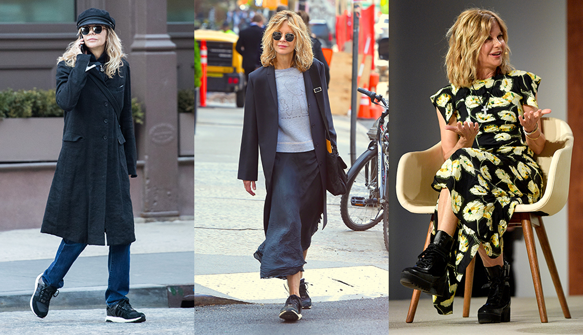 item 9 of Gallery image - Meg Ryan wearing a black tailored coat jeans and a captain's cap another photo of her wearing a charcoal topcoat gray t shirt and charcoal midi skirt and a third photo of her wearing a dark floral midi dress with combat boots