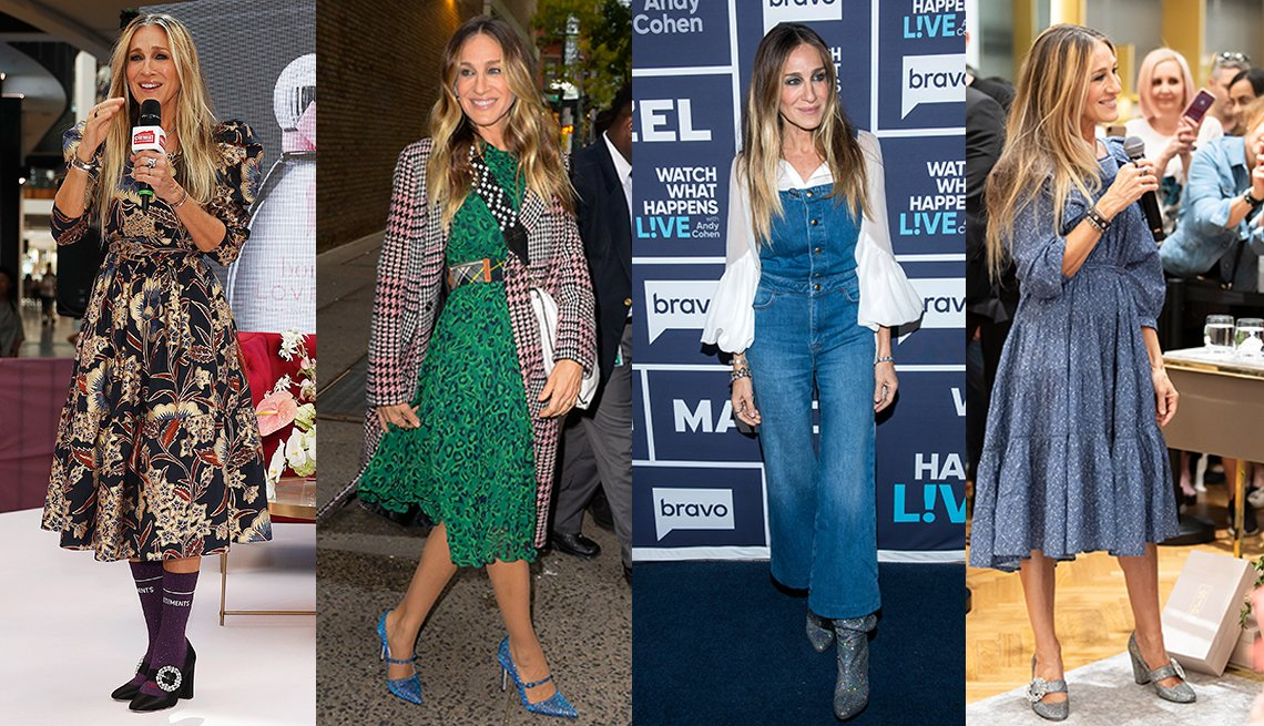 item 2 of Gallery image - Four images of Sarah Jessica Parker wearing a floral puff midi dress wearing a green print fit and flare dress wearing blue denim overalls with a white puff sleeve blouse and wearing a blue print ruffled mid dress