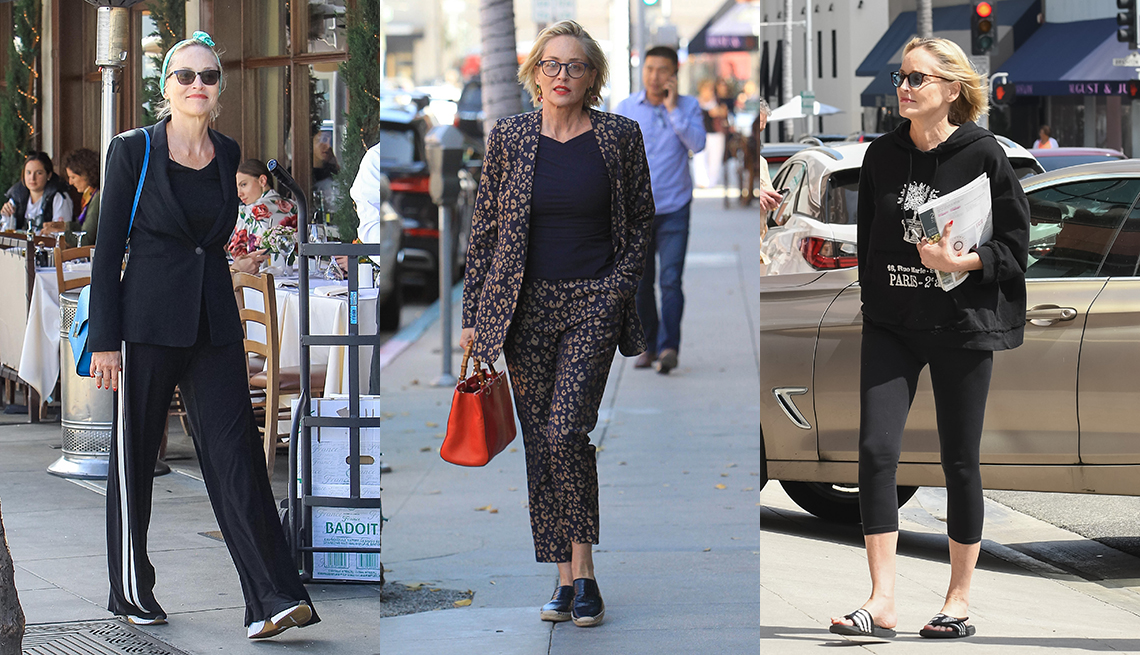 item 1 of Gallery image - Three side by side photos of Sharon Stone side by side showing her wearing a wide leg track pants with a black blazer wearing a floral pantsuit and wearing black capri leggings with an oversized hoodie