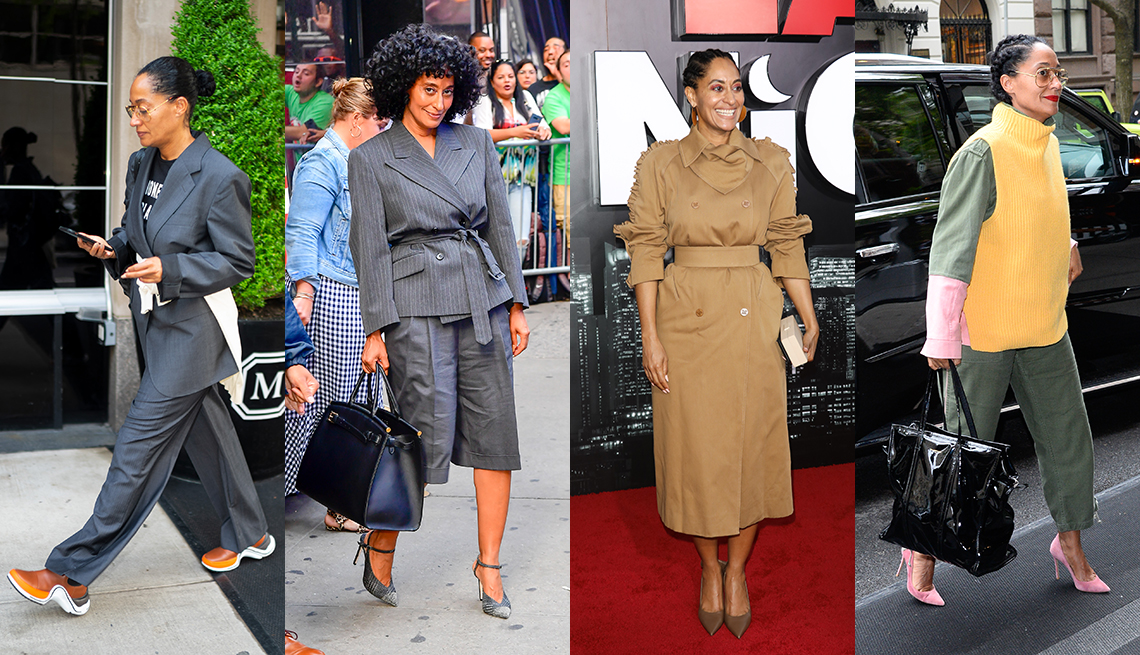 item 3 of Gallery image - A collage of photos showing actress Tracee Ellis Ross wearing a gray pantsuit with brown sneakers wearing a belted pinstripe jacket with wide knee shorts wearing a tan tailored trench dress and wearing a tailored khaki jumpsuit with a funnel neck vest