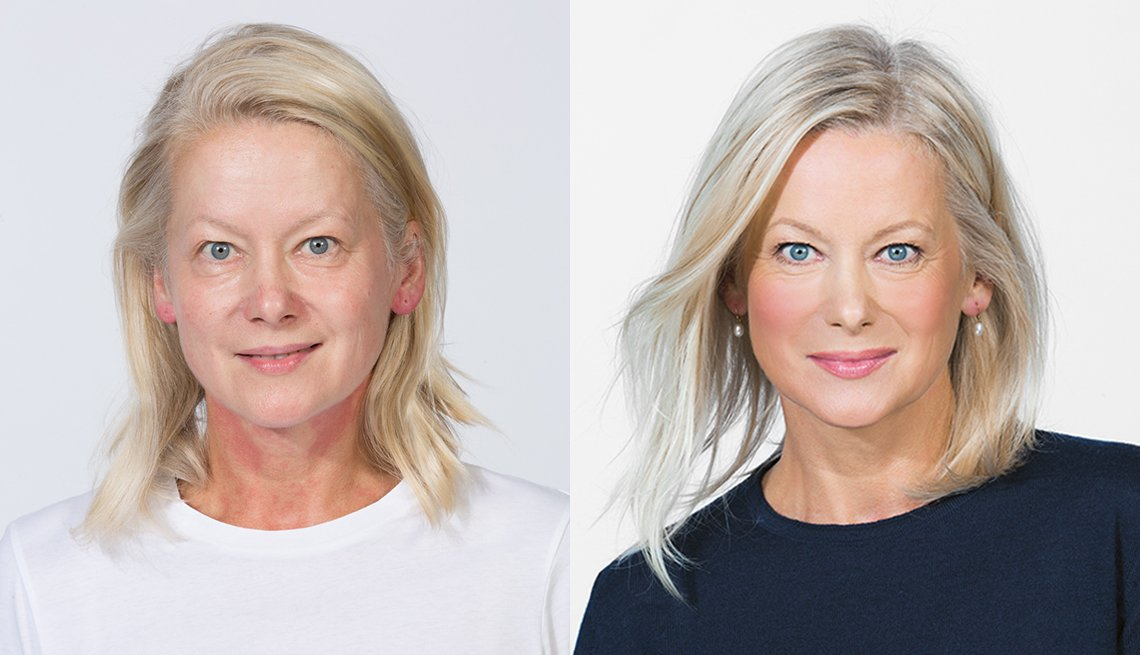 A before and after image of a woman showing the difference of applying makeup foundation
