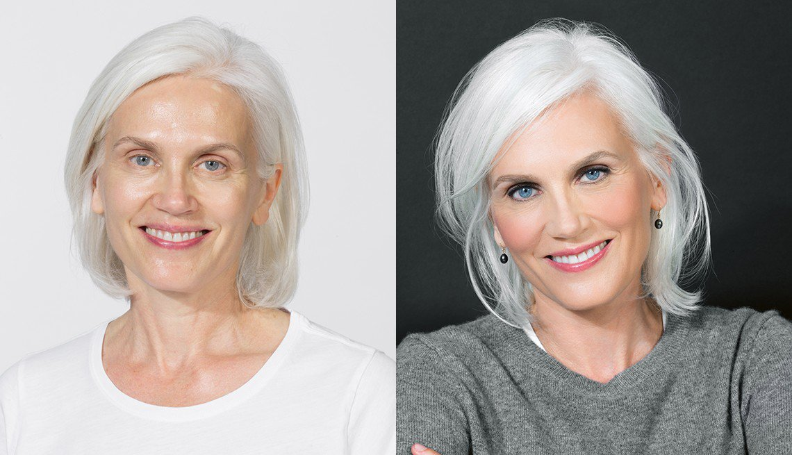Before and after images of a woman showing the difference of applying makeup for aging eyes