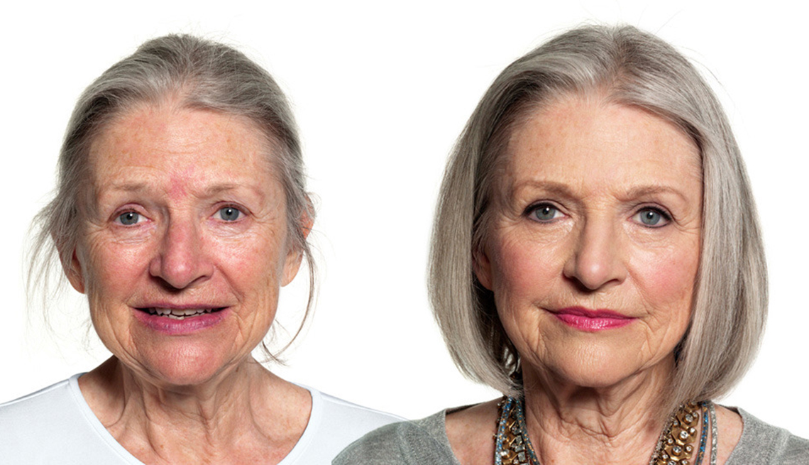 Before and after images of a woman showing the differences of applying makeup