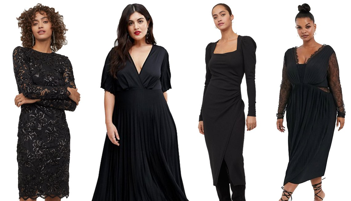 item 11, Gallery image. (Left to right) H&M Fitted Sequined Dress, ASOS DESIGN Curve Kimono Pleated Maxi Dress, H&M Draped Dress and ASOS DESIGN Curve Lace and Pleat Long Sleeve Midi Dress