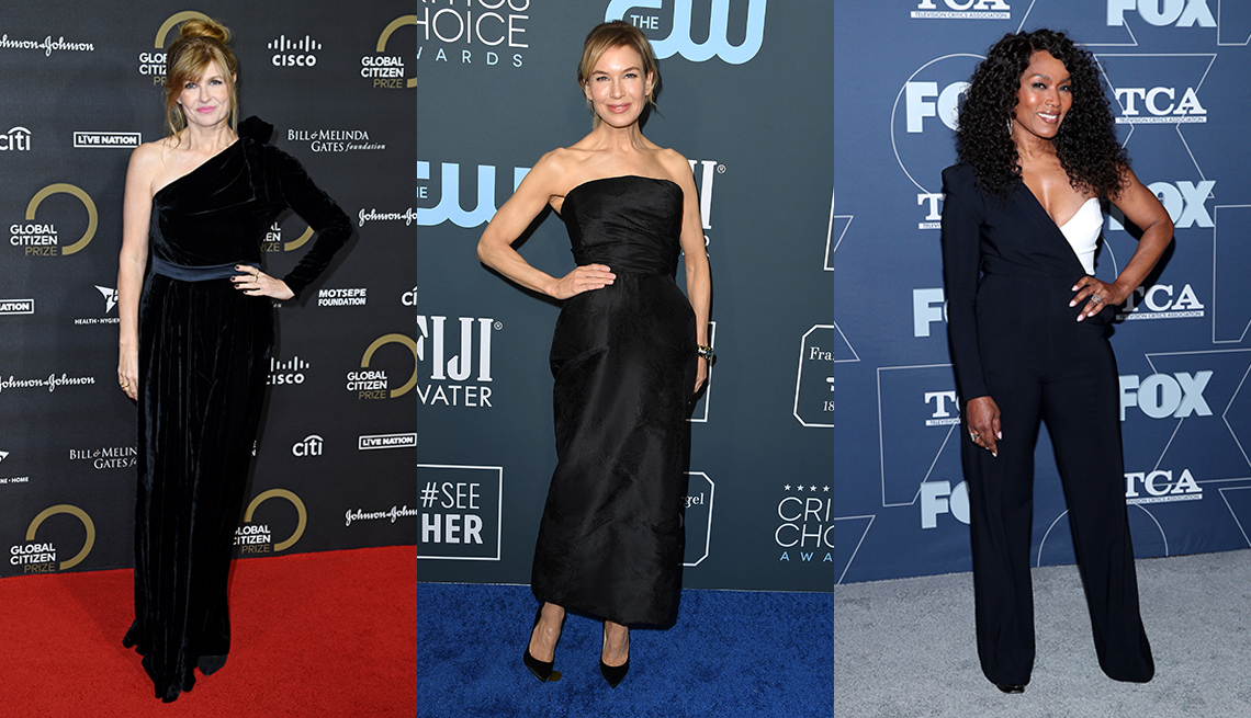 item 2 of Gallery image - Connie Britton wears a black one shoulder dress Renee Zellweger wears a strapless black column gown and Angela Bassett wears a black and white asymmetric jumpsuit