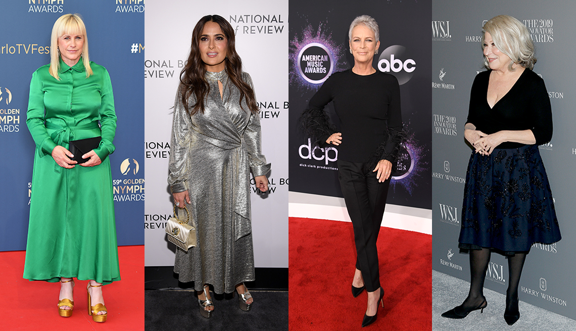 item 10 of Gallery image - Patricia Arquette wearing a green dress with gold platform sandals Salma Hayek wearing a metallic dress with metallic platforms Jamie Lee Curtis wearing a black outfit with black heels and Bette Midler wearing a black dress and kitten heel slingbacks