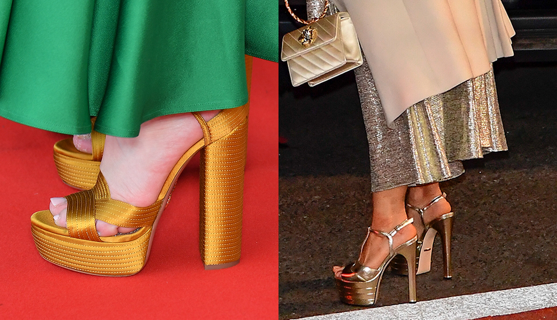 item 9 of Gallery image - Gold platform sandals worn by actress Patricia Arquette and metallic platform heels worn by actress Salma Hayek