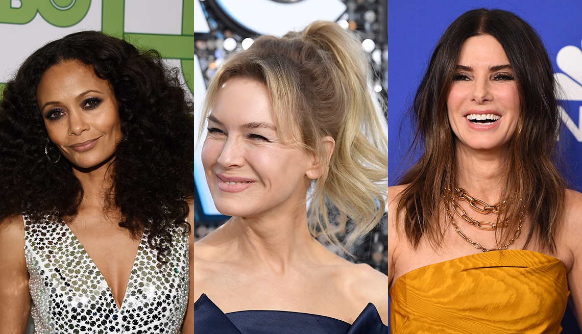 item 7 of Gallery image - Three close up photos side by side of Thandie Newton Renee Zellweger and Sandra Bullock