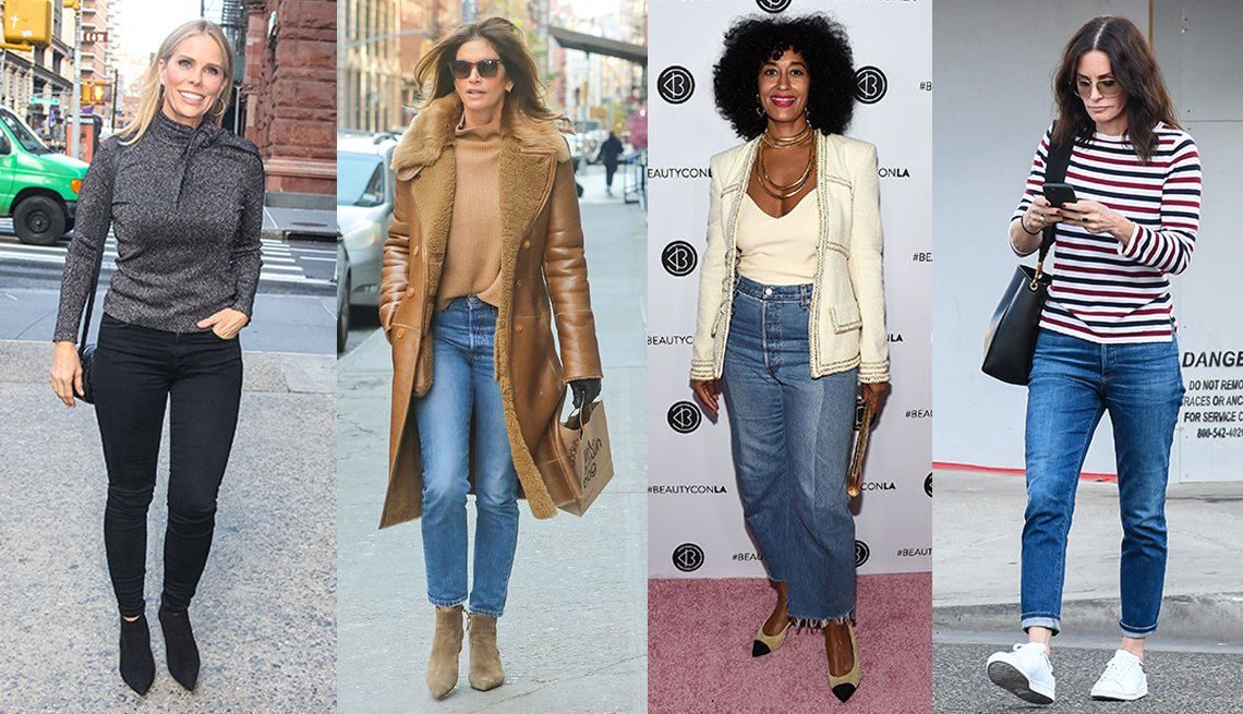 Cheryl Hines wearing black jeans and gray top Cindy Crawford wearing blue jeans with a brown top and jacket Tracee Ellis Ross wearing wide blue jeans and Courteney Cox wearing blue jeans with the cuffs turned up
