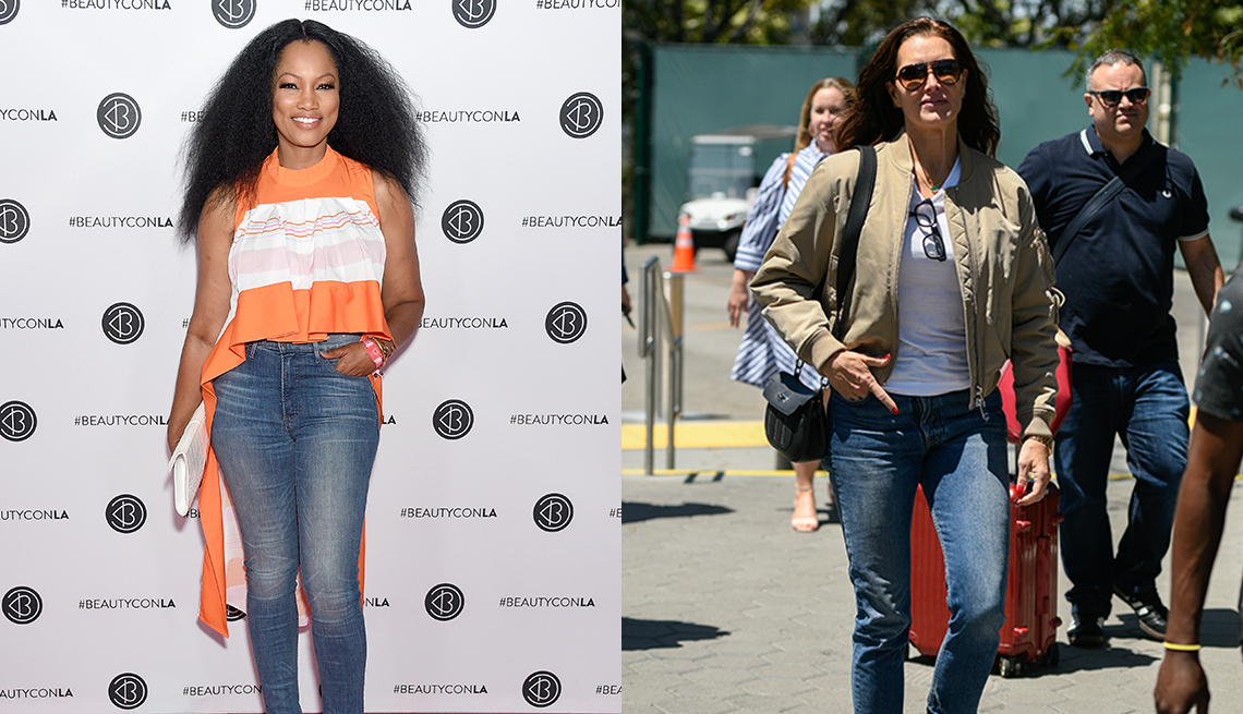 item 1 of Gallery image - Garcelle Beauvais and Brooke Shields both wearing blue jeans