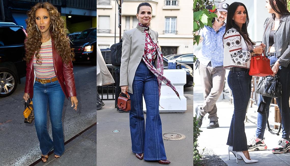 item 7 of Gallery image - Iman wearing bootcut blue jeans Juliette Binoche wearing blue flare jeans and Kyle Richards wearing  and Kyle Richards all wearing dark blue kick flare jeans