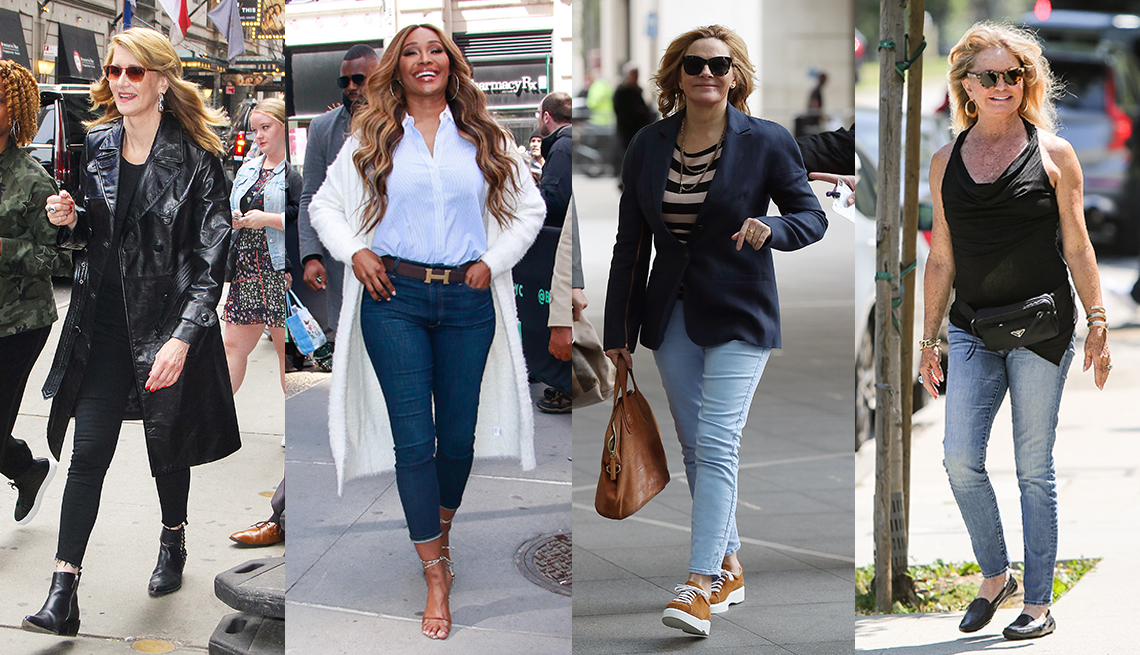 item 4 of Gallery image - Laura Dern wearing black jeans with a black leather trench coat Cynthia Bailey wearing blue jeans with a white button down shirt and white coat Kim Cattrall wearing light blue jeans with a blue sports jacket and Goldie Hawn wearing light blue jeans