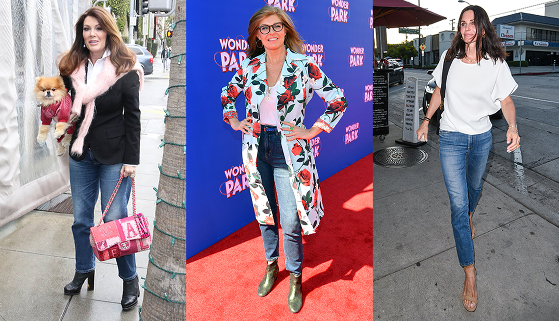 item 6 of Gallery image - Lisa Vanderpump Connie Britton and Courteney Cox all wearing straight leg jeans