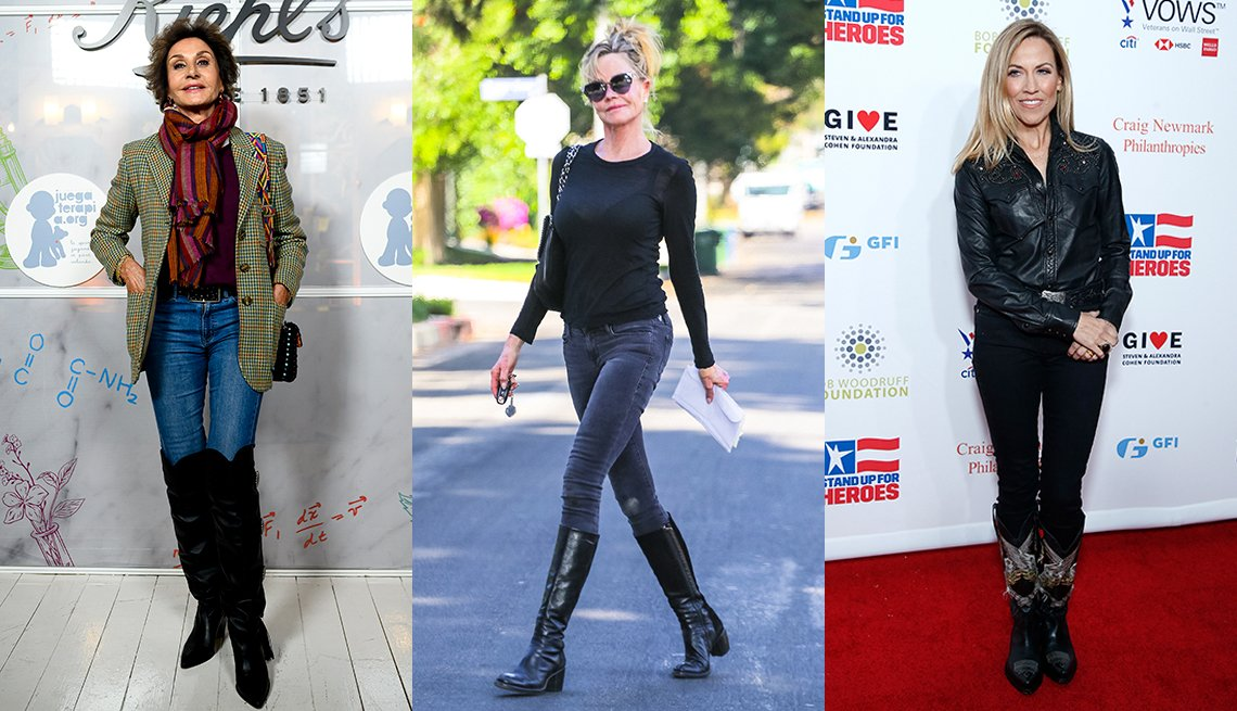 item 8 of Gallery image - Naty Abascal Melanie Griffith and Sheryl Crow all are wearing skinny jeans tucked into their boots
