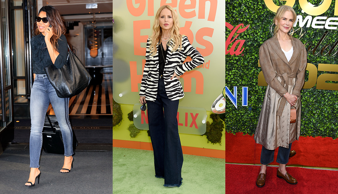 item 10 of Gallery image - Regina Hall wearing blue skinny jeans with a dark blouse Rachel Zoe wearing relaxed jeans with a zebra patterned blazer and Nicole Kidman wearing a coat over dark blue jeans