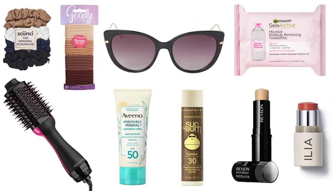 item 10, Gallery image. (Left to right) Scunci Small Ribbed Scrunchies; Revlon One-Step Hair Dryer & Volumizer Hot Air Brush; Goody Ouchless Elastic Hair Ties; H&M Sunglasses; Aveeno Positively Mineral Sensitive Face Sunscreen SPF 50; Sun Bum SPF 30 Coconut Lip Balm; Garnier Skinactive Micellar Waterproof Makeup Removing Towelettes; Revlon Photoready Insta-Fix Makeup; ILIA Multi-Stick