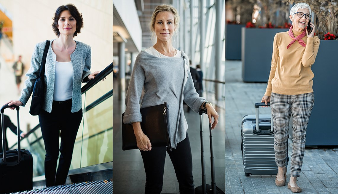item 1 of Gallery image - A brunette woman riding an escalator in black jeans white shirt and a tailored jacket a blonde woman at an airport wearing black jeans and a chic grey sweater and a mature woman wearing a peach sweater and plaid ankle pants