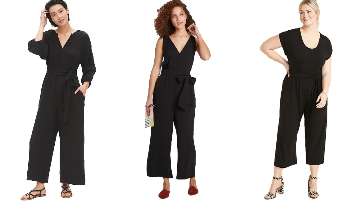 item 2, Gallery image. (Left to right) Gap Gauze Jumpsuit; A New Day Women's Sleeveless V-Neck Jumpsuit; Old Navy Jersey Tie-Belt Plus-Size Jumpsuit