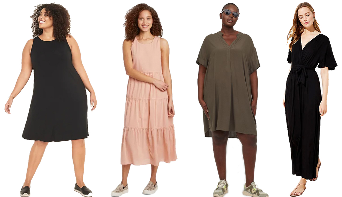 item 3 of Gallery image - A woman in an black Old Navy Sleeveless Plus-Size Jersey Swing Dress a second woman wearing a coral A New Day Women's Sleeveless Tiered Dress a third woman in a khaki green H&M+ V-neck Dress and a fourth woman wearing a Loft Beach Short Sleeve Maxi Dress