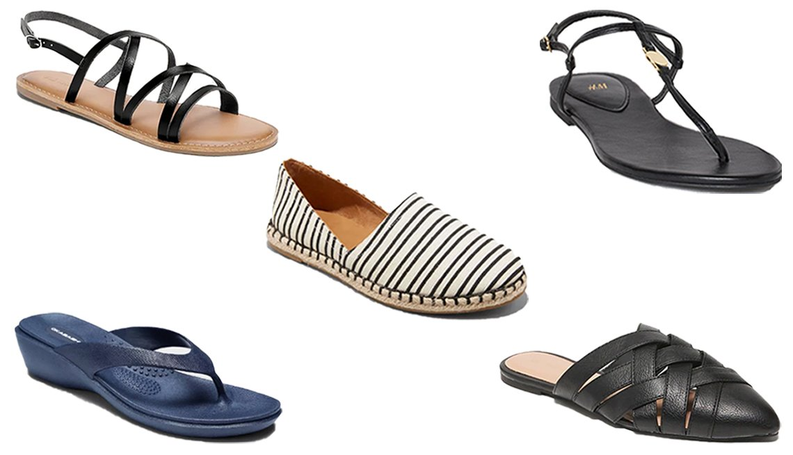 item 9, Gallery image. Old Navy Strappy Faux-Leather Slingback Sandals for Women (top left); H&M Sandals (top right); A New Day Women's Andi Espadrille Flats (center); Okabashi Women's Splash Sustainable Wedge Flip Flop Sandals (bottom left); Old Navy Faux-Leather Braided-Strap Pointy-Toe Flats for Women (bottom right)