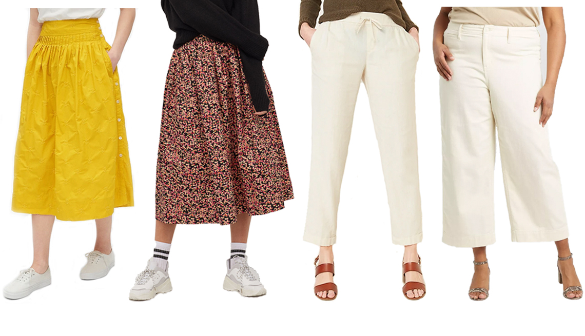 item 4 of Gallery image - A yellow mustard Gap Embroided Midi Skirt in Poplin a black pink floral H&M Flared Skirt an Old Navy Mid Rise Cropped Linen Blend Pants for Women and A New Day Women's Plus Size High Rise Cropped Wide Leg Pants