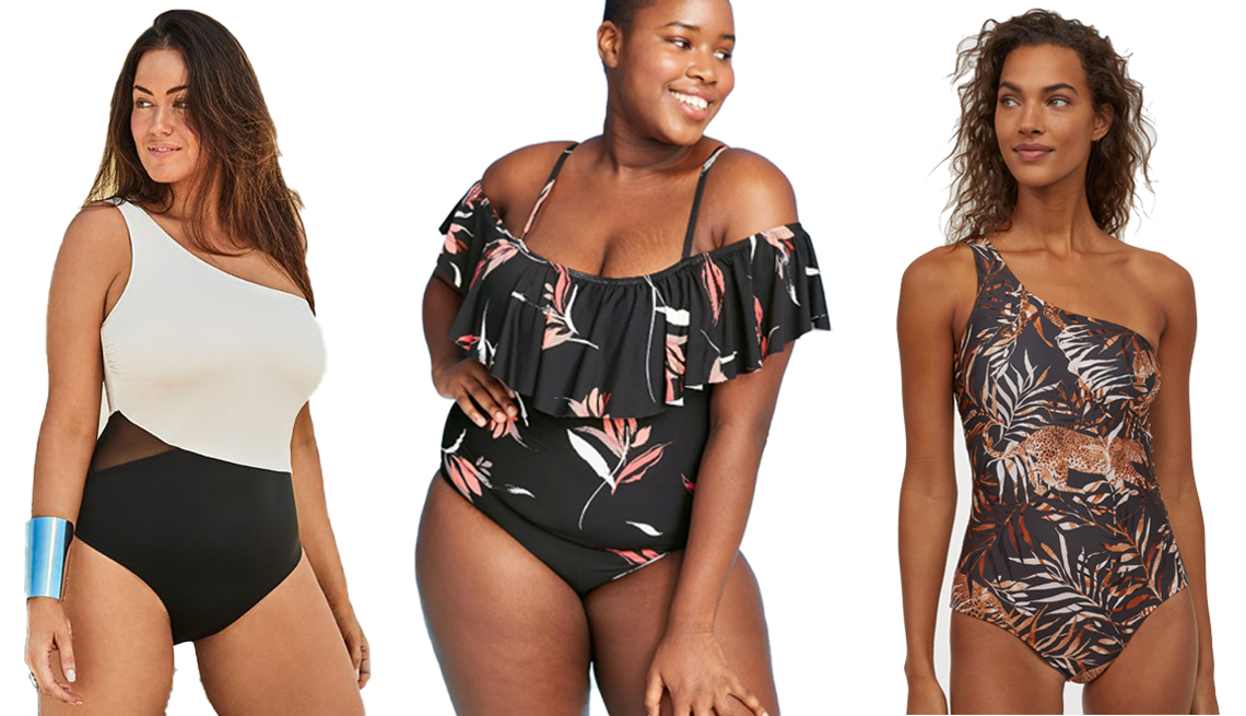 item 6 of Gallery image - A woman wearing a black and white Swimsuits for All Manhattan One Shoulder One Piece Swimsuit another woman wearing a leaf black Sea Angel Women's Plus Size Cold Shoulder Ruffle One Piece Swimsuit and a third woman in a H&M One-Shoulder Swimsuit