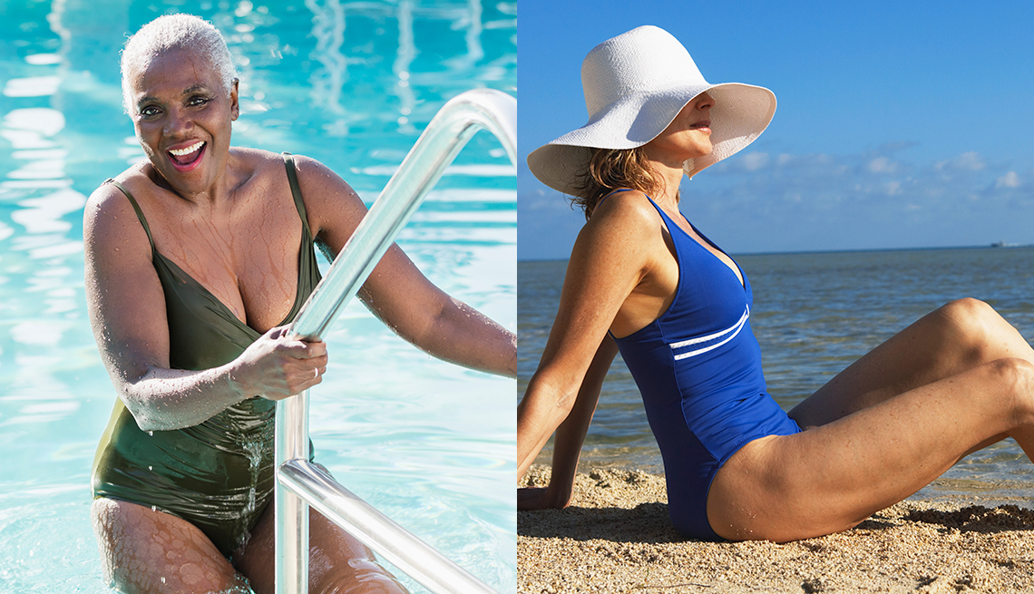 item 5 of Gallery image - A woman in a dark green swimsuit using a ladder to get out of the swimming pool and another woman in a blue swimsuit sitting on a beach