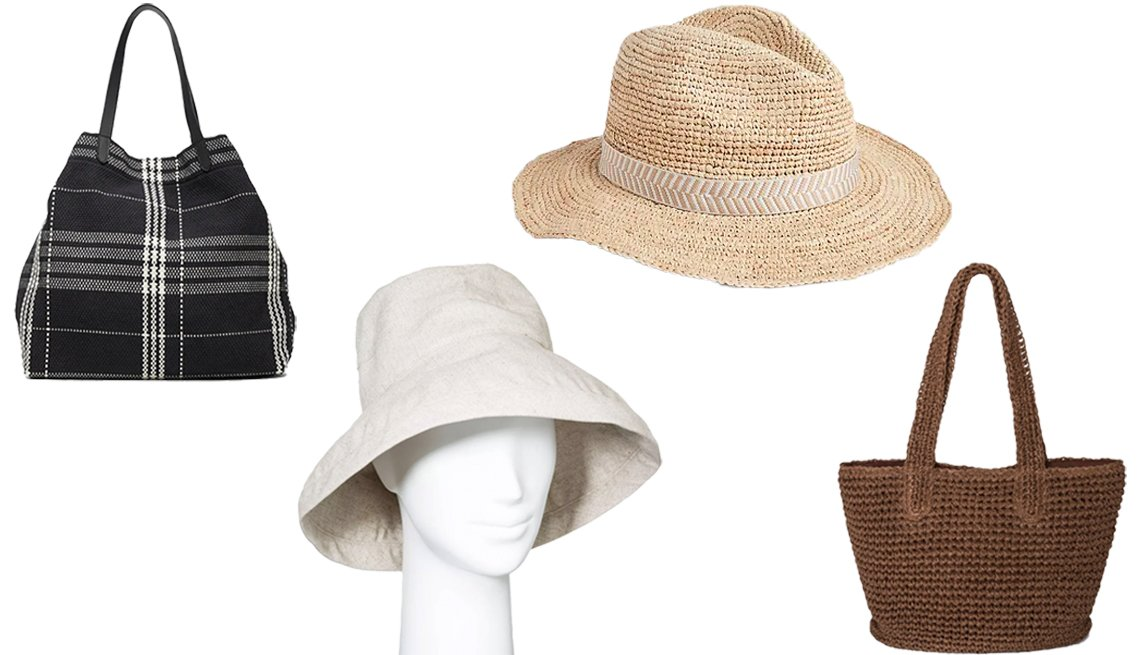 item 8, Gallery image. (Left to right) Banana Republic Plaid Canvas Tote; A New Day Women's Bucket Hat; Gap Packable Panama Hat; Universal Thread Straw Tote Handbag