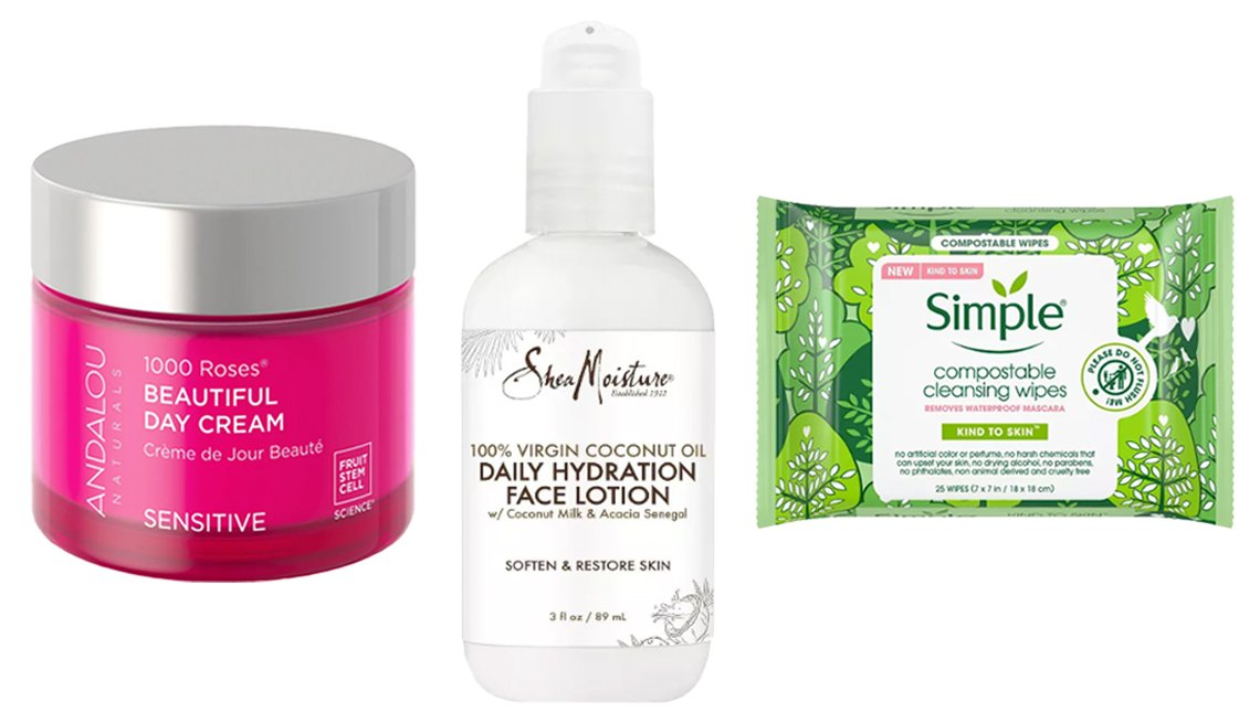 item 2, Gallery image. (De izq. a der.) Andalou Naturals 1000 Roses Beautiful Day Cream; SheaMoisture 100% Virgin Coconut Oil Daily Hydration Face Lotion; Simple Kind To Skin Compostable Cleansing Wipes