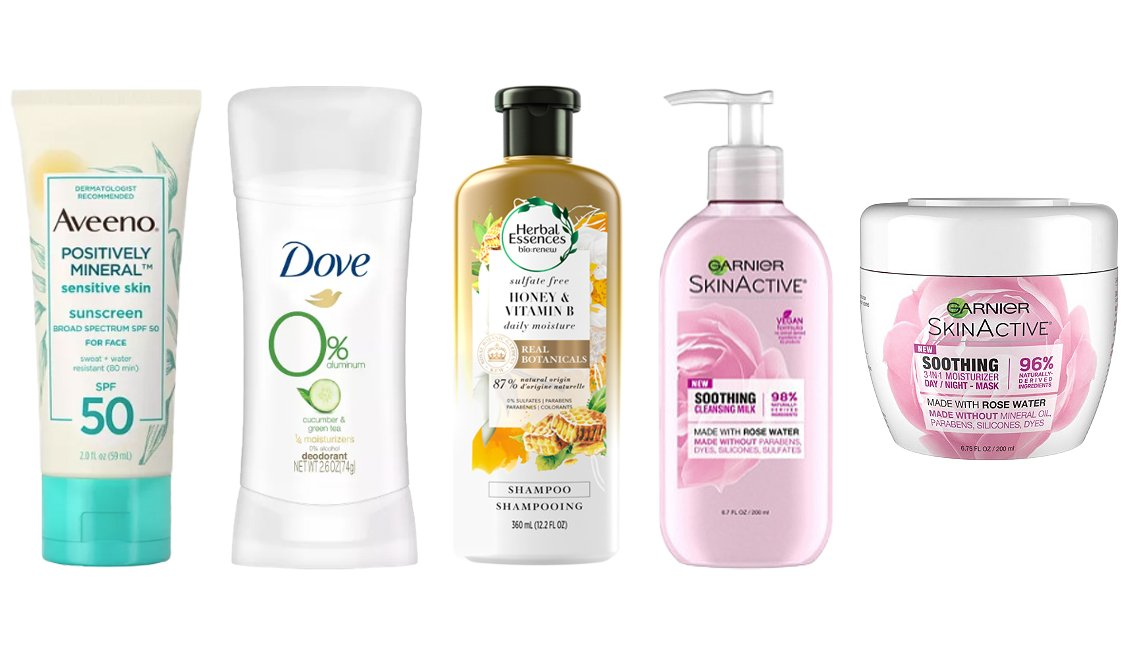 item 4, Gallery image. (Left to right) Aveeno Positively Mineral Sensitive Skin Sunscreen SPF 50; Dove 0% Aluminum Cucumber & Green Tea Deodorant Stick; Herbal Essences Bio:Renew Honey & Vitamin B Sulfate-Free Moisture Shampoo; Garnier SkinActive Soothing Milk Face Wash with Rose Water; Garnier SkinActive Soothing 3-in-1 Face Moisturizer with Rose Water