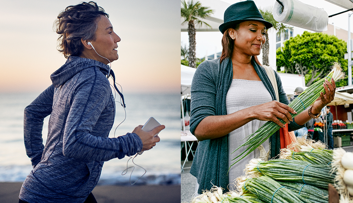 A woman wearing headphones while she is running on a beach and another woman at a farmer's market looking at produce
