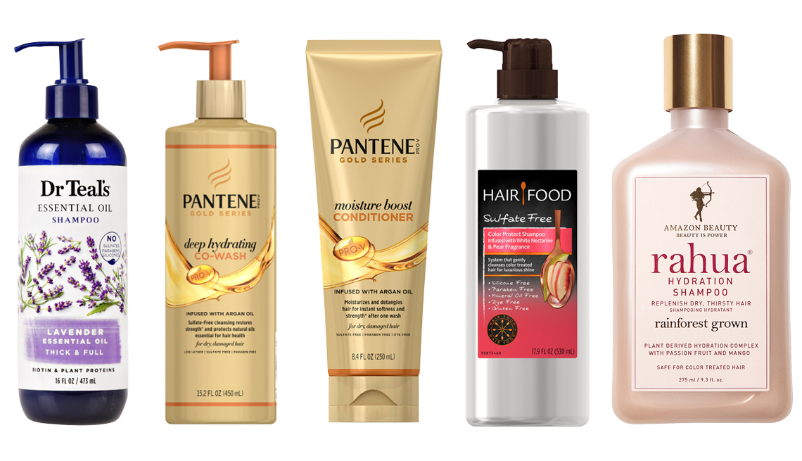 item 9 of Gallery image - Dr Teal's Lavender Thick and Full Essential Oil Shampoo Sulfate Free Pantene Pro V Gold Series Deep Hydrating Co Wash Pantene Pro V Gold Series Moisture Boost Conditioner Infused with Argan Oil Clairol Hair Food Color Protect Shampoo Rahua Hydration Shamp