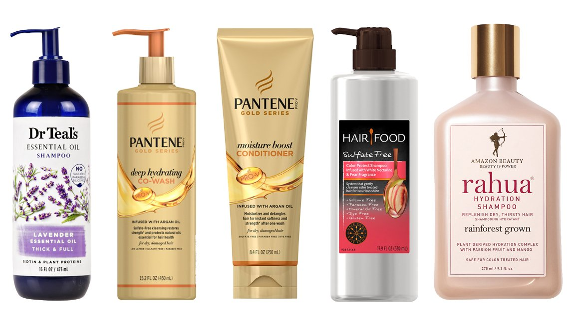 item 9, Gallery image. (Left to right) Dr Teal's Lavender Thick & Full Essential Oil Shampoo, Sulfate Free; Pantene Pro-V Gold Series Deep Hydrating Co-Wash; Pantene Pro-V Gold Series Moisture Boost Conditioner Infused with Argan Oil; Clairol Hair Food Color Protect Shampoo White Nectarine & Pear; Rahua Hydration Shampoo