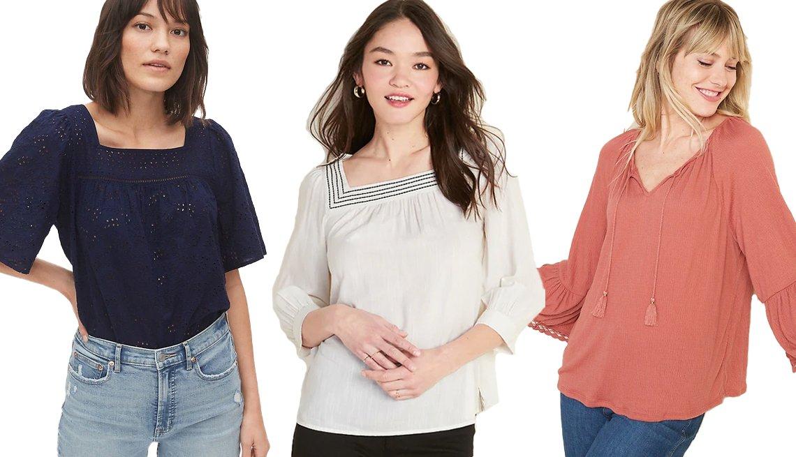 item 7, Gallery image. (De izquierda a derecha) Blusa estilo campesina de ojales de Gap; blusa holgada de escote cuadrado de Old Navy; blusa de tejido de punto con textura, mangas acampanadas y amarre al cuello de Old Navy