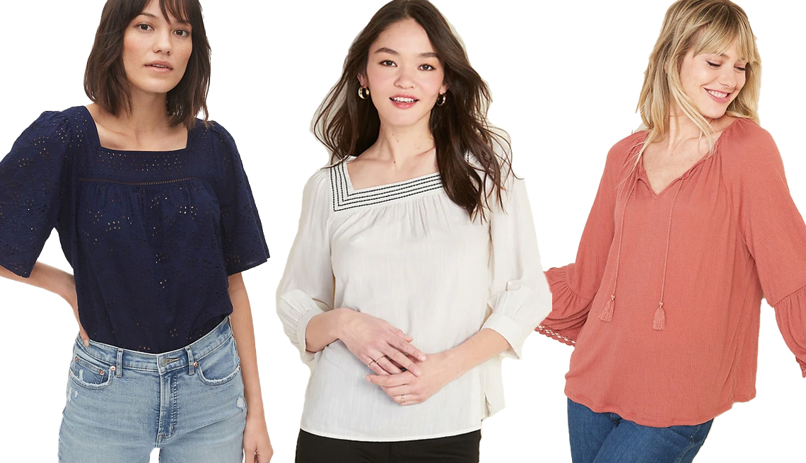 item 7 of Gallery image - Gap Eyelet Peasant Top Old Navy Relaxed Square Neck Top for Women Old Navy Textured-Jersey Bell Sleeve Tie Neck Top for Women