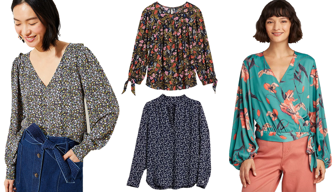 item 8 of Gallery image - Loft Garden V Neck Puff Sleeve Blouse Banana Republic Puff Sleeve Swing Top Gap Print V Neck Popover Shirt A New Day Womens Floral Print Balloon Long Sleeve Wrap Top