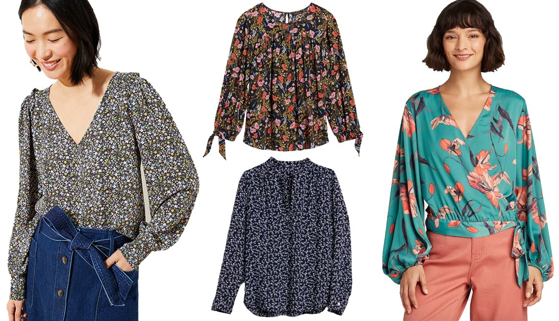 item 8, Gallery image. LOFT Garden V-Neck Puff Sleeve Blouse (left, worn by model); Banana Republic Puff-Sleeve Swing Top (top middle); Gap Print V-Neck Popover Shirt (bottom middle); A New Day Women's Floral Print Balloon Long Sleeve Wrap Top (right, worn by model)