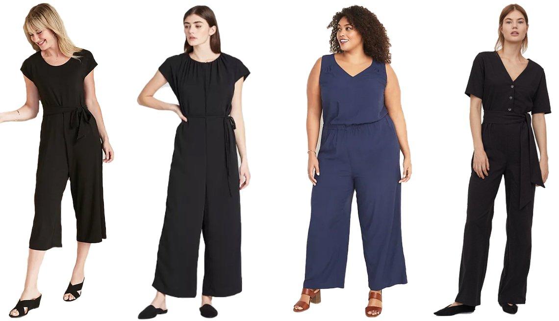 item 10, Gallery image. (Left to right) Old Navy Tie-Belt Dolman-Sleeve Jumpsuit for Women; Prologue Women's Short Sleeve Ankle Length Jumpsuit; Old Navy Plus-Size Wide-Leg V-Neck Jumpsuit; H&M Cotton-blend Jumpsuit