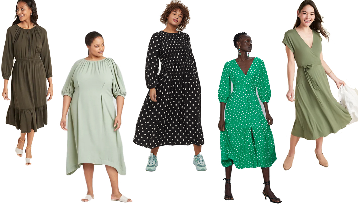 item 5 of Gallery image - Old Navy Waist Defined Embroidered Trim Midi Dress for Women Prologue Womens Plus Size Balloon Elbow Sleeve Dress H and M Smock-detail Dress Zara Polka Dot Dress Old Navy Wrap Front Dolman Sleeve Midi Dress for Women