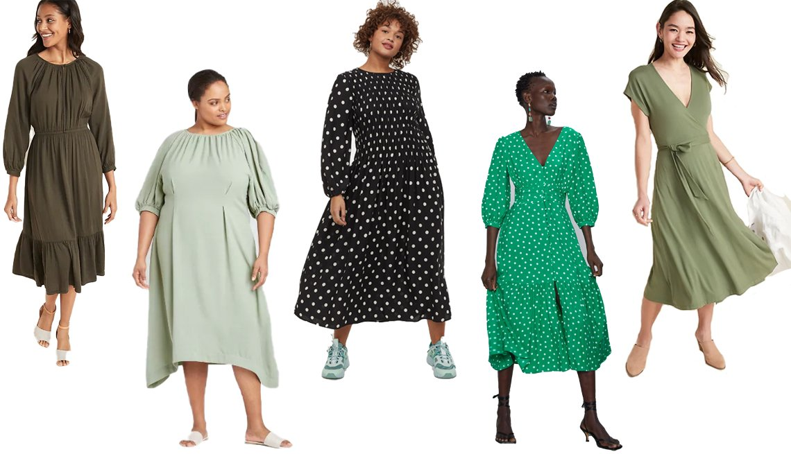 item 5, Gallery image. (Left to right) Old Navy Waist-Defined Embroidered Trim Midi Dress for Women; Prologue Women's Plus Size Balloon Elbow Sleeve Dress; H&M Smock-detail Dress; Zara Polka Dot Dress; Old Navy Wrap-Front Dolman-Sleeve Midi Dress for Women