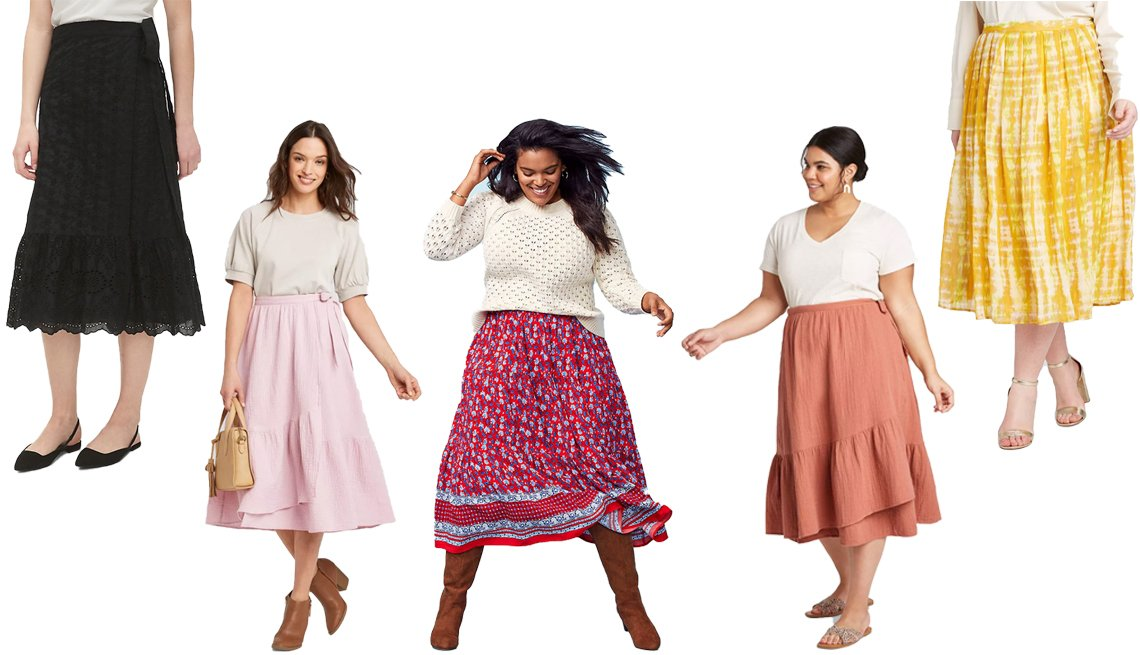 item 4, Gallery image. (Left to right) Eyelet Wrap Midi Skirt; Universal Thread Women's Midi Wrap A-Line Skirt; LOFT Border Floral Tiered Midi Skirt; Universal Thread Women's Plus Size Midi Wrap Skirt; Who What Wear Women's Plus Size Tie-Dye Print Mid-Rise Flowy A-Line Midi Skirt