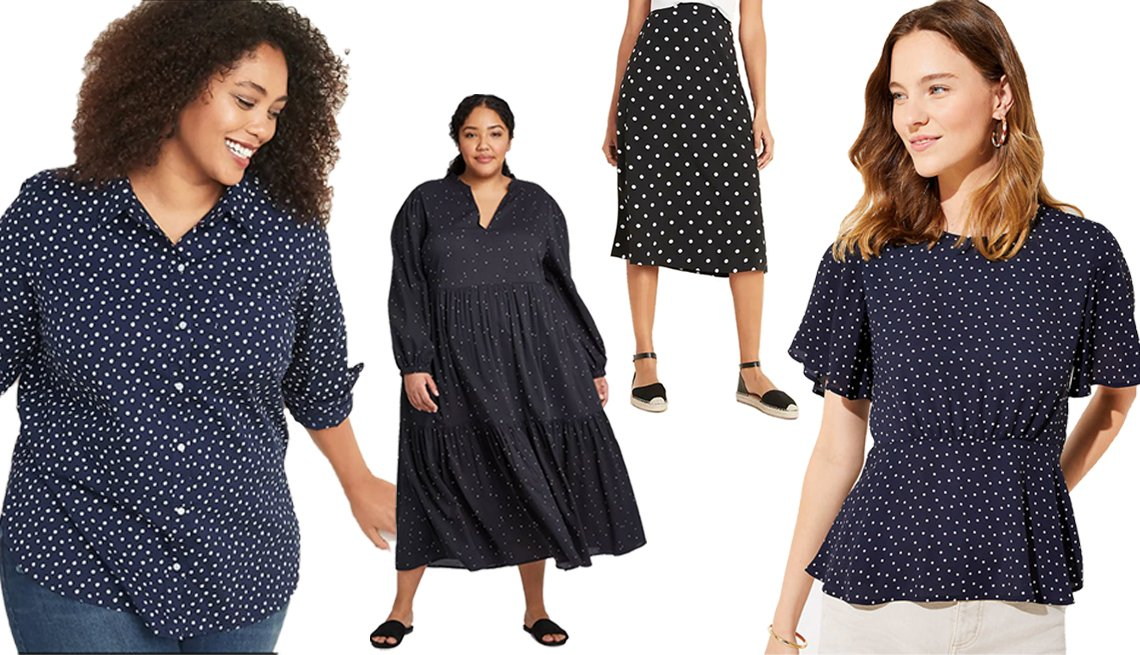 item 1, Gallery image. (Left to right) Old Navy Patterned No-Peek Plus-Size Stretch Shirt for Women; Who What Wear Women's Plus Size Polka Dot Long Sleeve Deep Tiered Flowy Dress; Old Navy Lightweight Midi Slip Skirt for Women; LOFT Dotted Peplum Top