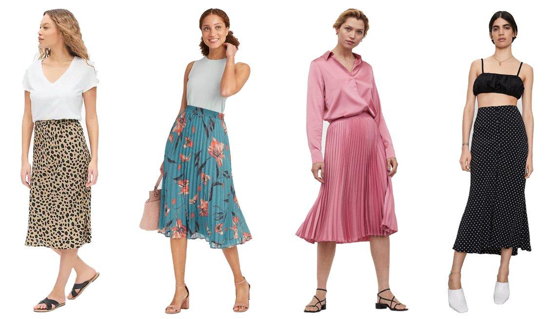 item 9, Gallery image. (De izquierda a derecha) Falda estampada a media pierna de Gap; falda floral plisada a media pierna en línea A de cintura alta de A New Day; falda plisada de H&M; falda de lunares de Zara