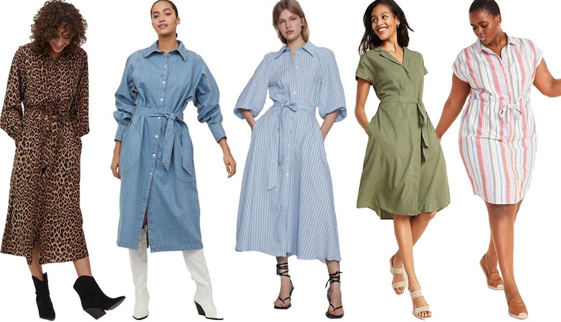 item 6, Gallery image. (De izquierda a derecha) Vestido camisero con cinturón de lazo de H&M; vestido camisero de mezclilla con cinturón de lazo de H&M; vestido camisero rayado de Zara; vestido camisero con cinturón de lazo y cintura definida de Old Navy; vestido camisero de tejido con mezcla de lino, con lazo ajustable en la cintura y abotonadura oculta de Old Navy, en tallas grandes