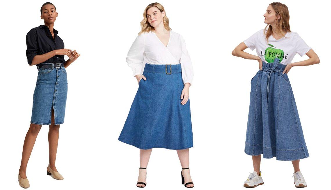 item 3, Gallery image. (De izquierda a derecha) Falda lápiz vaquera abotonada de Everlane; falda a media pierna en línea A con vuelo y cinturón de Who What Wear, en tallas grandes; falda vaquera en línea A de H&M