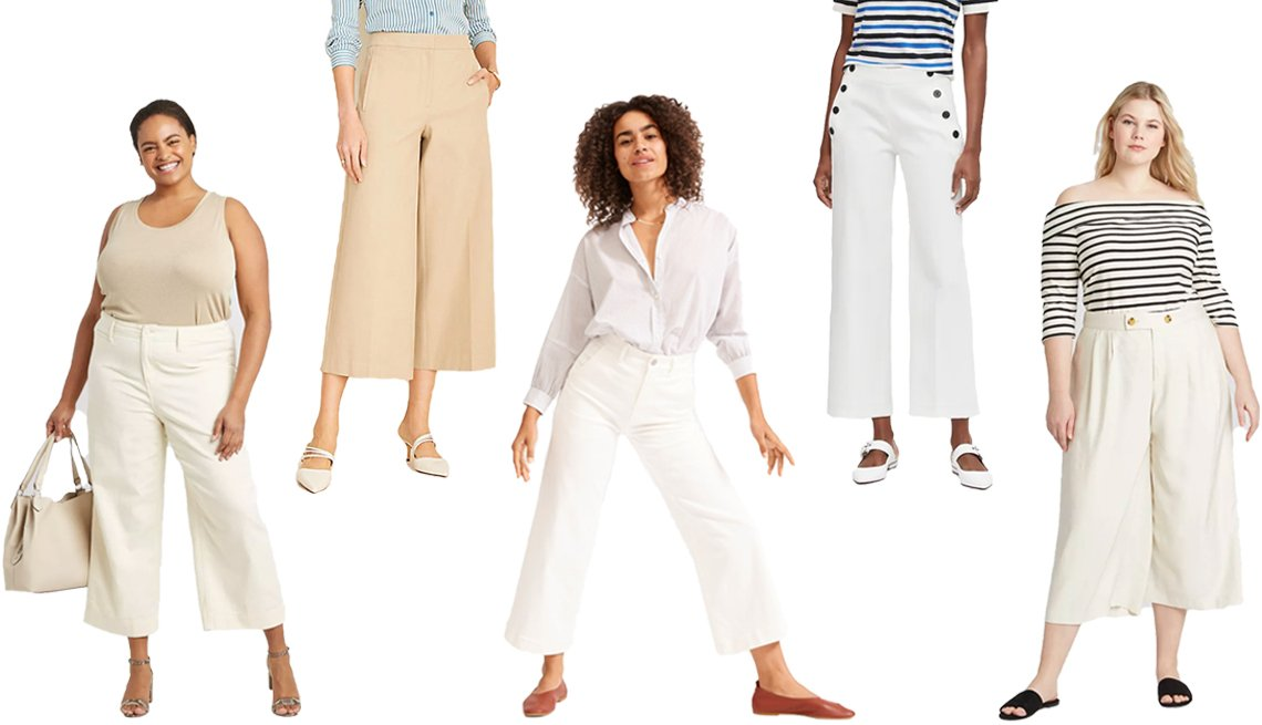 """item 2, Gallery image. (De izquierda a derecha) Pantalón recortado de pernera ancha y cintura alta de A New Day, en tallas grandes; pantalón """"Marina"""" de Ann Taylor; pantalón recortado de pernera ancha de Everlane; pantalón recortado de pernera moderadamente ancha, estilo marinero, de Banana Republic; pantalón sastre recortado de pernera ancha, pinzado y a media cintura de Who What Wear, en tallas grandes"""