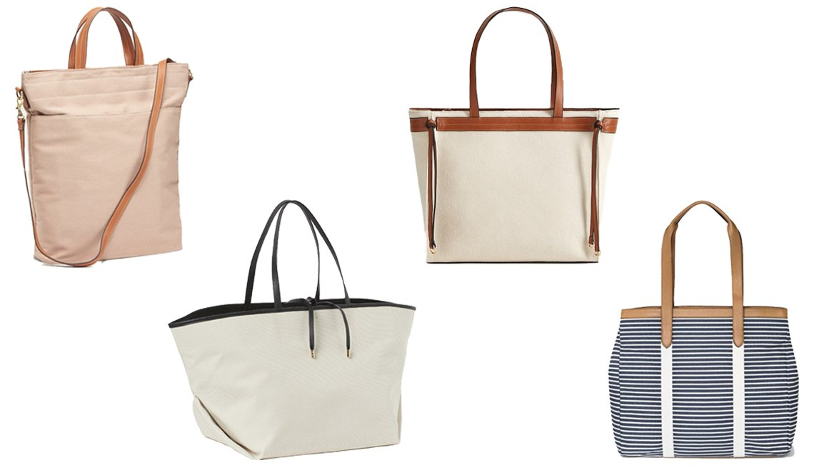 item 1, Gallery image. (Left to right) Old Navy Dual-Strap Canvas Tote for Women; H&M Oversized Canvas Shopper; MANGO Contrasting Shopper Bag; A New Day Zip Closure Tote Handbag