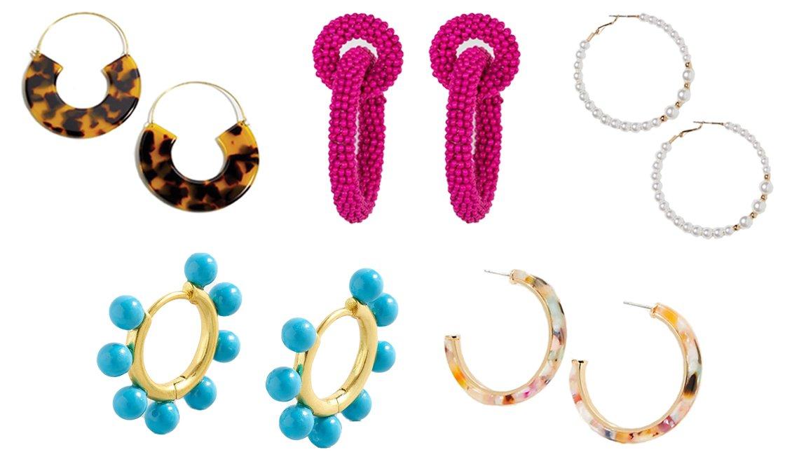 item 6, Gallery image. J.Crew tortoise hanging hoop earrings (top left); SUGARFIX by BaubleBar Beaded Double Hoop Earrings (top middle); H&M Hoop Earrings (top right); J.Crew pearl charm huggie hoops (bottom left); LOFT Rainbow Resin Hoop Earrings (bottom right)