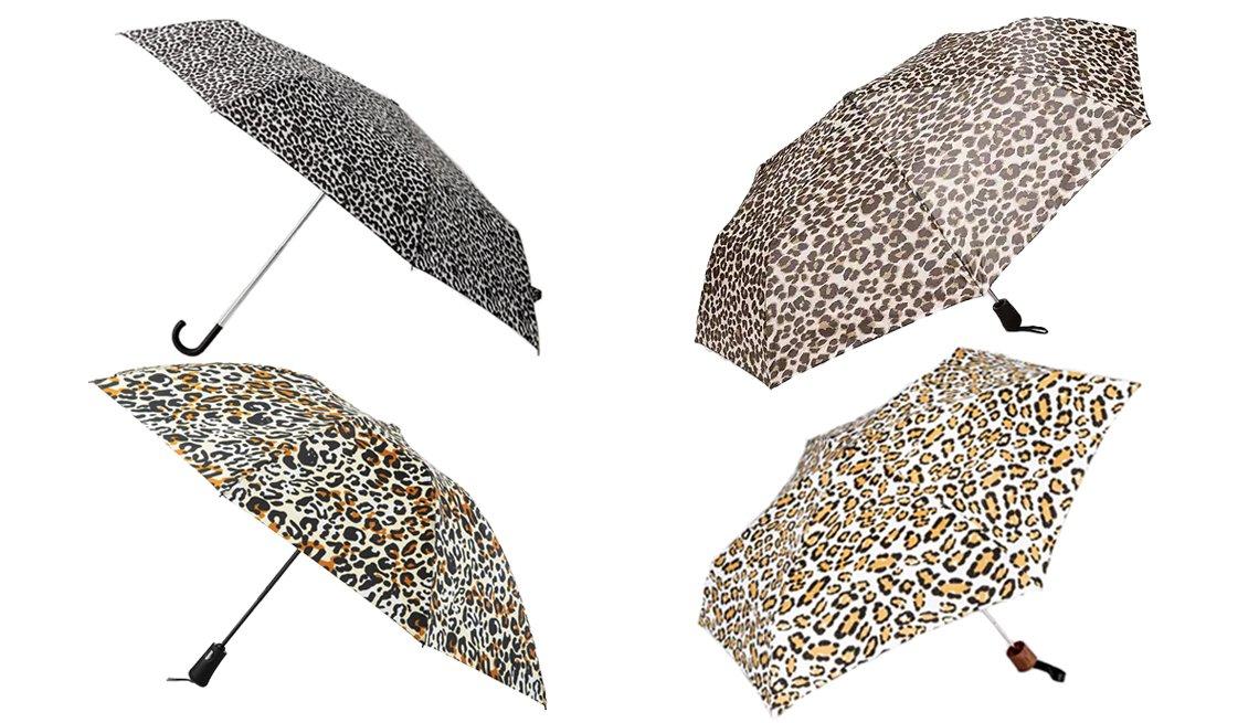 item 3, Gallery image. (From top left clockwise) MANGO Leopard print umbrella; Old Navy Compact Automatic Umbrella; Cirra by ShedRain Leopard Print Mini Manual Compact Umbrella; Totes Automatic Reverse-Close InBrella Umbrella