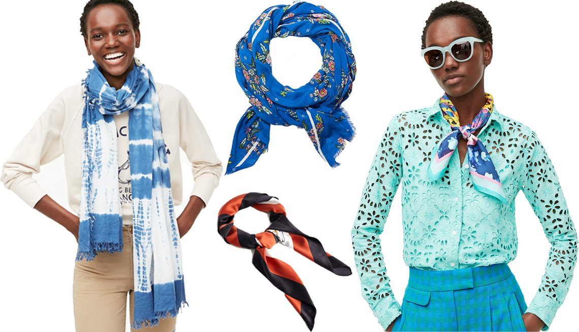 item 5, Gallery image. A model wearing a J.Crew organic cotton scarf in tie-dye (left); LOFT Floral Scarf (top middle); MANGO chain printed scarf (bottom middle); model wearing a J.Crew square silk scarf in leopard and floral print
